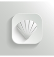 Shell icon - white app button vector image vector image