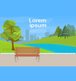 urban park wooden bench green lawn and trees over vector image