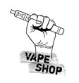 vape shop with hand holding electric tool for vector image