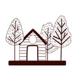 vintage house trees forest isolated design white vector image
