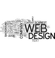 web designs scariest mistakes text word cloud vector image vector image