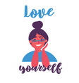 young girl in eyeglasses and beam love yourself vector image