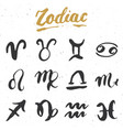 zodiac signs set and letterings hand drawn vector image
