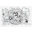 a hand-drawn coffee doodle vector image