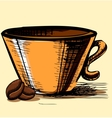 Cup with two coffee beans vector image