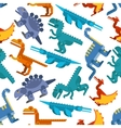 Colorful seamless pattern of jurassic dinosaurs vector image