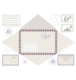 Mail Envelope Stickers Stamps And Postcard vector image