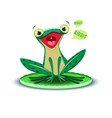 a cute frogling says ribbit vector image vector image