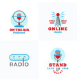 a set radio emblems abstract broadcast vector image