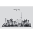Beijing city skyline silhouette in grayscale vector image vector image