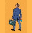 businessman with briefcase and phone vector image