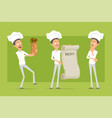 cartoon flat chef cook man character set vector image vector image