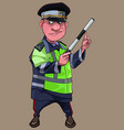 cartoon man in traffic inspector clothes vector image vector image