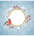 christmas background with snowflakes and bullfinch vector image vector image