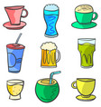 collection drink various style doodle set vector image vector image