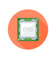 cpu computer chip flat style round icon vector image vector image