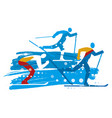 cross country skiers grunge stylized vector image