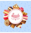 Cupcakes Sweets Shop Round Background Poster vector image vector image