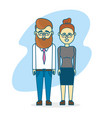 cute couple with hairsty design and clothes vector image vector image
