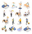 daily routine isometric icons set vector image vector image