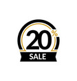 discount card with 20 percent sale advertising vector image vector image
