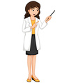 Female ophthalmologist checking eyes vector image vector image