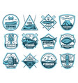 fishing camp tournament icons vector image vector image