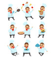 flat set with funny chef in different vector image vector image