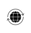 global logistics black icon sign on vector image vector image