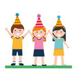 happy boy and girls with party hat birthday vector image vector image
