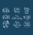 happy easter white festive calligraphy set vector image
