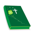 Holy Bible with Wooden Cross and Shamrock vector image vector image
