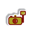 in paper sticker style camera vector image vector image
