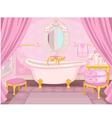 Interior of bathroom in the castle vector image
