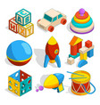 isometric of various childrens toys vector image vector image