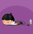 Man Worker Tired Power Plug vector image