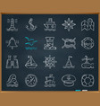 Marine chalk draw line icons set