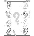 matching halves game coloring book vector image vector image