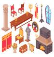 medieval castle furniture set vector image vector image