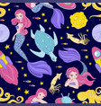 mermaid cloth space sea princess seamless pattern vector image vector image