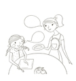 mother and daughter comic cartoon vector image vector image