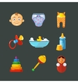 pistures of Toys icons set isolate on dark vector image