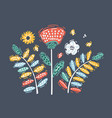 retro flowers on dark background vector image