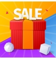 Sale inscription with gift box sale banner with vector image