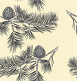 Seamless texture branch Pine and pine cone vector image vector image