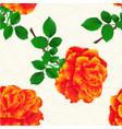 seamless texture flower orange rose stem vintage vector image vector image