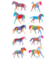 set colorful trotting horses silhouettes vector image vector image