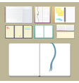set open realistic notebooks with pages diary vector image vector image