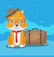 shiba inu cute dog travel vector image