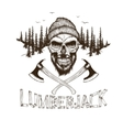 Skull-lumberjack with two axes vector image
